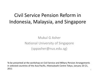 Civil Service Pension Reform in Indonesia, Malaysia, and Singapore