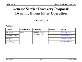 Generic Service Discovery Proposal: Dynamic Bloom Filter Operation