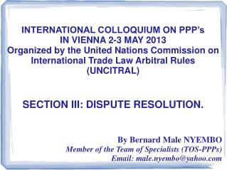 INTERNATIONAL COLLOQUIUM ON PPP's  IN VIENNA 2-3 MAY 2013