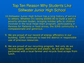 Top Ten Reason Why Students Like Stillwater Junior High School