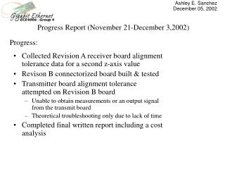 Progress Report (November 21-December 3,2002)