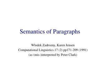 Semantics of Paragraphs