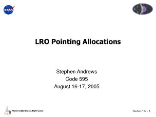 LRO Pointing Allocations