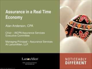 Assurance in a Real Time Economy