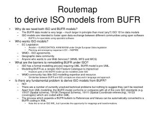 Routemap  to derive ISO models from BUFR