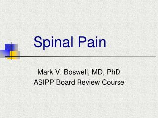 Spinal Pain