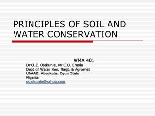PRINCIPLES OF SOIL AND WATER CONSERVATION