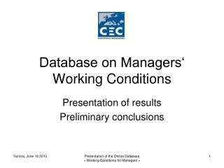 Database on Managers' Working Conditions