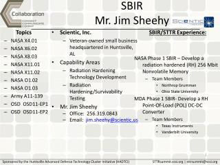 SBIR  Mr. Jim Sheehy