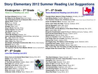 Story Elementary 2012 Summer Reading List Suggestions
