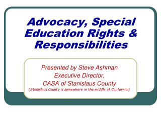 Advocacy, Special Education Rights & Responsibilities