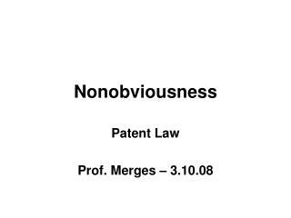 Nonobviousness