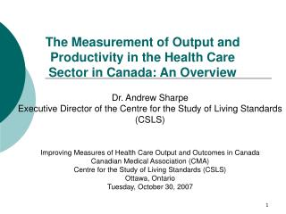 The Measurement of Output and Productivity in the Health Care Sector in Canada: An Overview