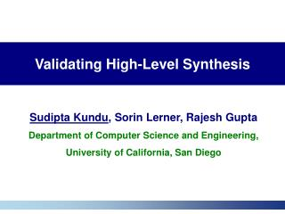 Validating High-Level Synthesis