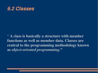 6.2 Classes