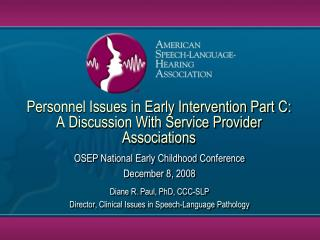 Personnel Issues in Early Intervention Part C: A Discussion With Service Provider Associations