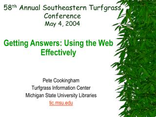 58 th  Annual Southeastern Turfgrass Conference May 4, 2004