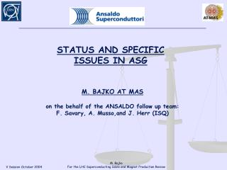 M. BAJKO AT MAS on the behalf of the ANSALDO follow up team: