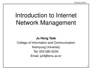 Introduction to Internet Network Management