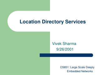 Location Directory Services
