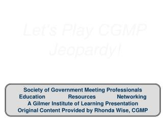Let's Play CGMP Jeopardy!