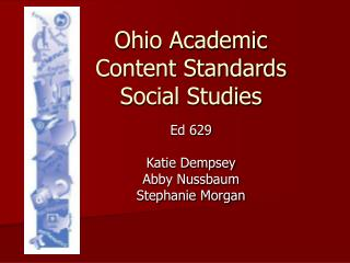 Ohio Academic Content Standards Social Studies