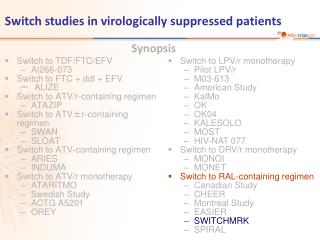 Switch studies in virologically suppressed patients