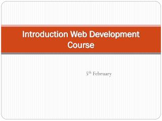 Introduction Web Development Course