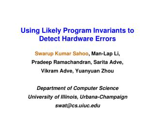 Using Likely Program Invariants to Detect Hardware Errors