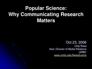 Popular Science: Why Communicating Research Matters