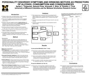 PERSONALITY DISORDER SYMPTOMS AND DRINKING MOTIVES AS PREDICTORS OF ALCOHOL CONSUMPTION AND CONSEQUENCES. Sarah L. Trage