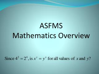ASFMS  Mathematics Overview