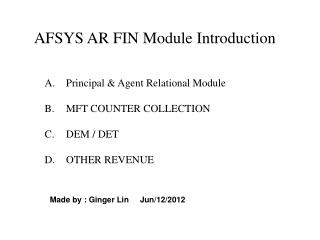 AFSYS AR FIN Module Introduction