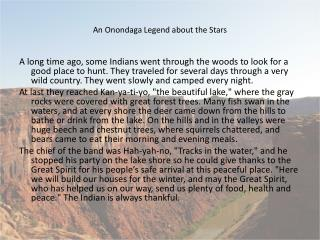 An Onondaga Legend about the Stars