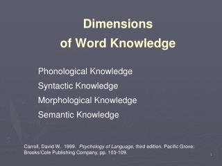 Dimensions  of Word Knowledge