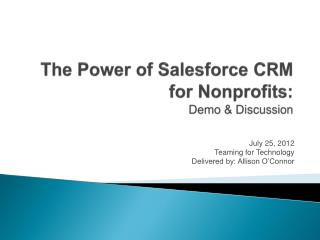 The Power of Salesforce CRM for Nonprofits: Demo & Discussion