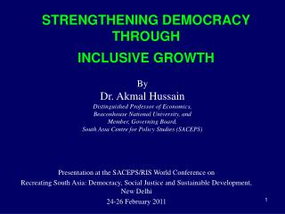STRENGTHENING DEMOCRACY THROUGH  INCLUSIVE GROWTH