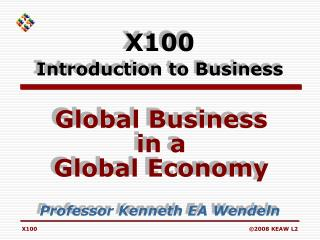X100 Introduction to Business