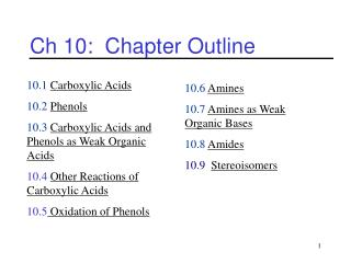 Ch 10:  Chapter Outline