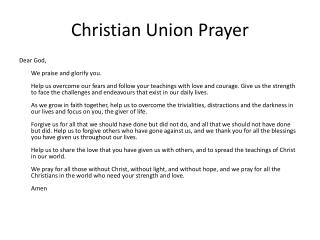Christian Union Prayer