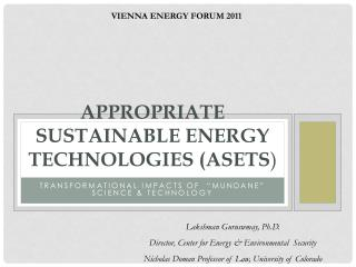 APPROPRIATE SUSTAINABLE ENERGY TECHNOLOGIES (ASETS )