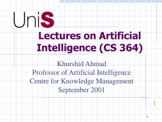 Lectures on Artificial Intelligence (CS 364)