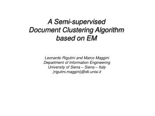 A Semi-supervised  Document Clustering Algorithm  based on EM