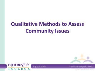 Qualitative Methods to Assess Community Issues