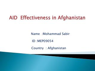 AID  Effectiveness in Afghanistan