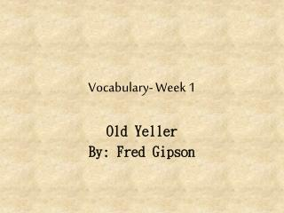 Vocabulary- Week 1