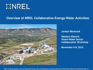 Overview of NREL Collaborative Energy-Water Activities