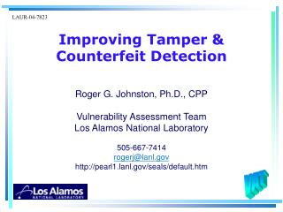 Improving Tamper & Counterfeit Detection