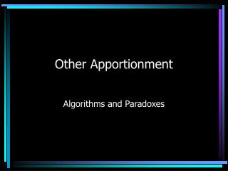 Other Apportionment