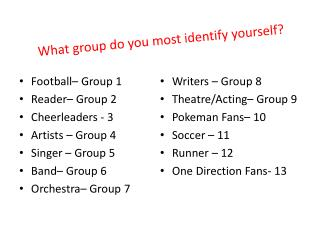 What group do you most identify yourself?